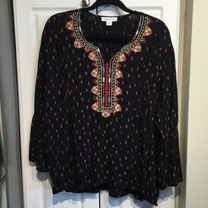 Coldwater Creek Embroidered Peasant Top